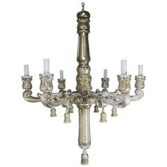 Six-Light Silver Gilt Italian Chandelier with Tassels