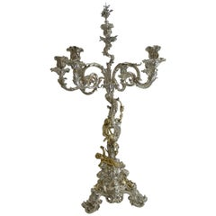 Six-Light Silver Plated Candelabra / Centrepiece by Elkington, 1868, Cherubs