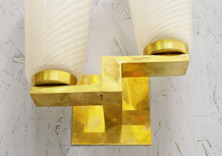 Italian Six Limited Edition Sconces w/ Frosted Gold Infused Murano Glass, Italy, 1990s For Sale