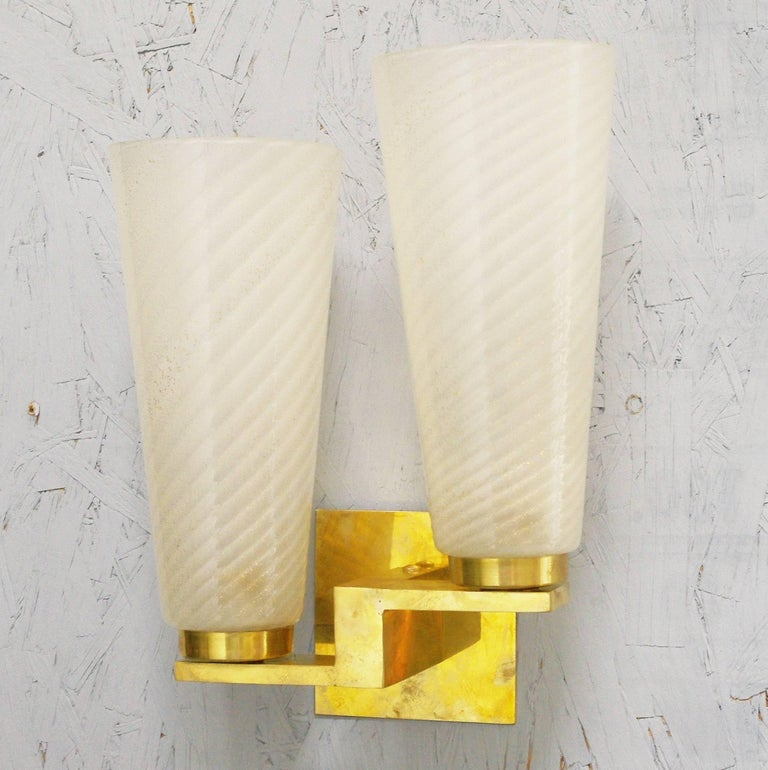 Six Limited Edition Sconces w/ Frosted Gold Infused Murano Glass, Italy, 1990s For Sale 2