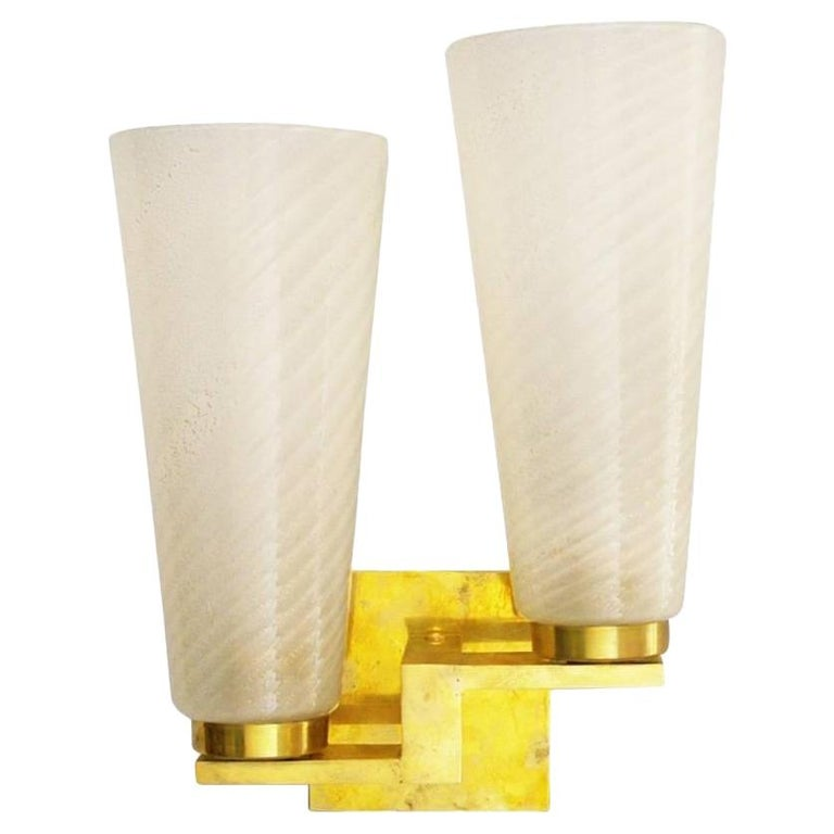 Six Limited Edition Sconces w/ Frosted Gold Infused Murano Glass, Italy, 1990s For Sale