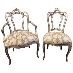 Six Louis XV Style Silver Gilt Recently Refinished and Upholstered Dining Chairs