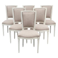 Six Louis XVI Style Painted Dining Chairs