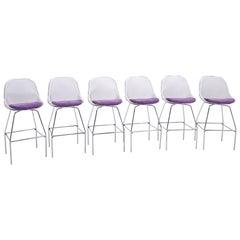 THREE LEFT!  Luta Bar Stools by Antonio Citterio for B&B Italia.  Purple Seats