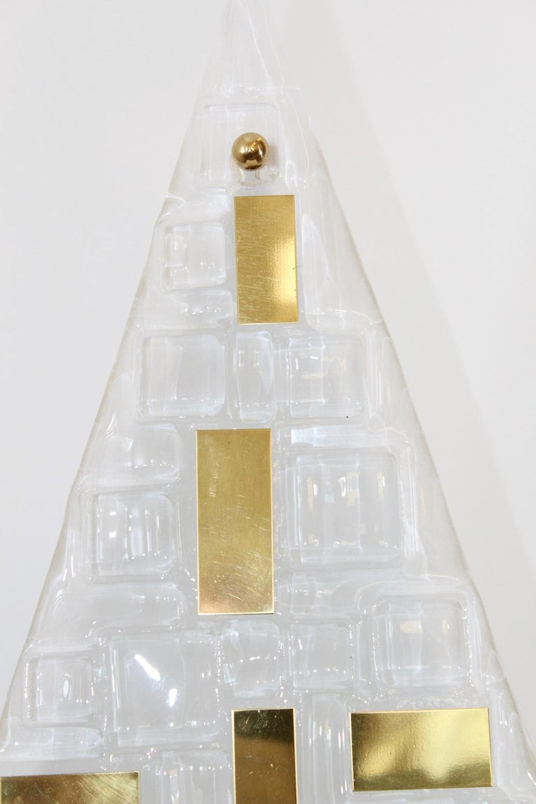 Limited edition Italian modern wall lights or flush mounts with frosted triangular textured Murano glasses decorated with brass details / Exclusively designed by Gianluca Fontana for Fabio Ltd / Made in Italy 2 lights / E12 or E14 type / max 40W