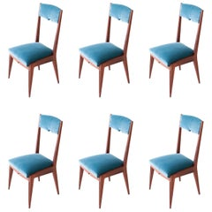Six Mahogany and Blue Velvet Dining Chairs