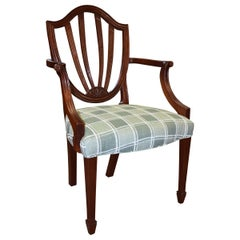 Six Mahogany Sheraton Style Shield Back Dining Room Chairs by Baker Furniture