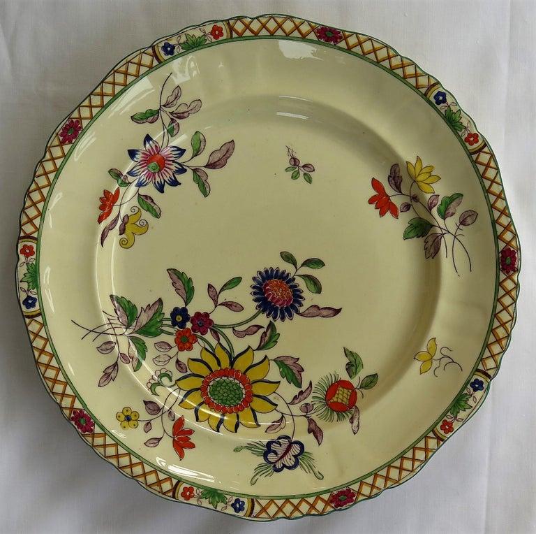 Six Mason's Ironstone Large Dinner Plates Art Nouveau Muscatel Pattern For Sale 6