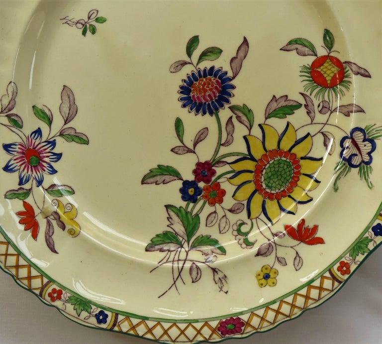 Six Mason's Ironstone Large Dinner Plates Art Nouveau Muscatel Pattern For Sale 9