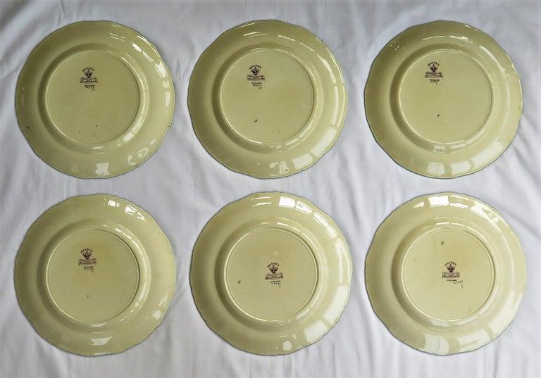 Six Mason's Ironstone Large Dinner Plates Art Nouveau Muscatel Pattern For Sale 10