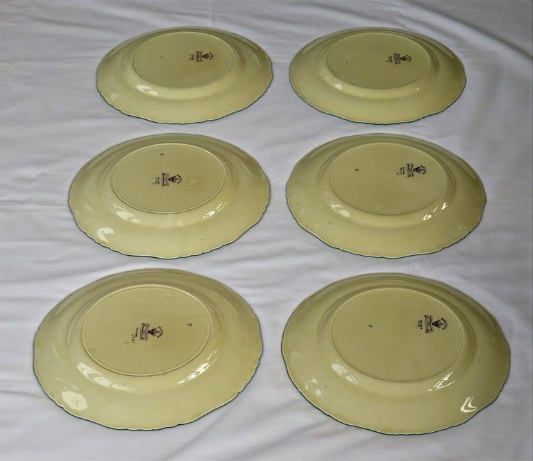 Six Mason's Ironstone Large Dinner Plates Art Nouveau Muscatel Pattern For Sale 11