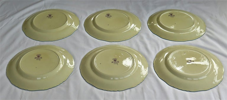 Six Mason's Ironstone Large Dinner Plates Art Nouveau Muscatel Pattern For Sale 12