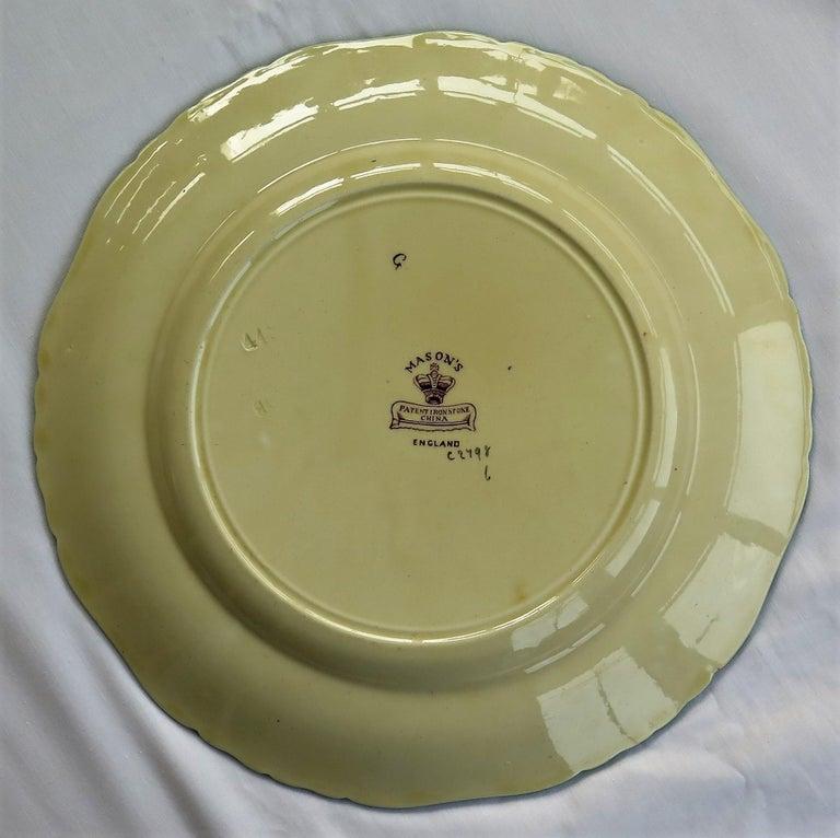 Six Mason's Ironstone Large Dinner Plates Art Nouveau Muscatel Pattern For Sale 13