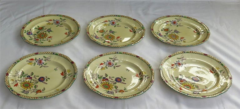 Hand-Painted Six Mason's Ironstone Large Dinner Plates Art Nouveau Muscatel Pattern For Sale