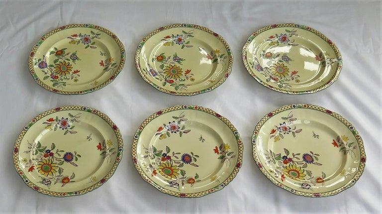 19th Century Six Mason's Ironstone Large Dinner Plates Art Nouveau Muscatel Pattern For Sale