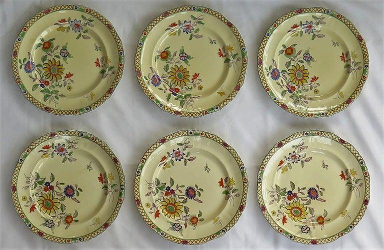 Six Mason's Ironstone Large Dinner Plates Art Nouveau Muscatel Pattern For Sale 1