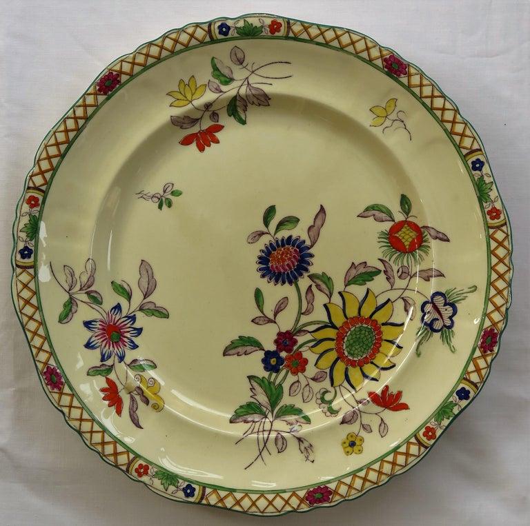 Six Mason's Ironstone Large Dinner Plates Art Nouveau Muscatel Pattern For Sale 2