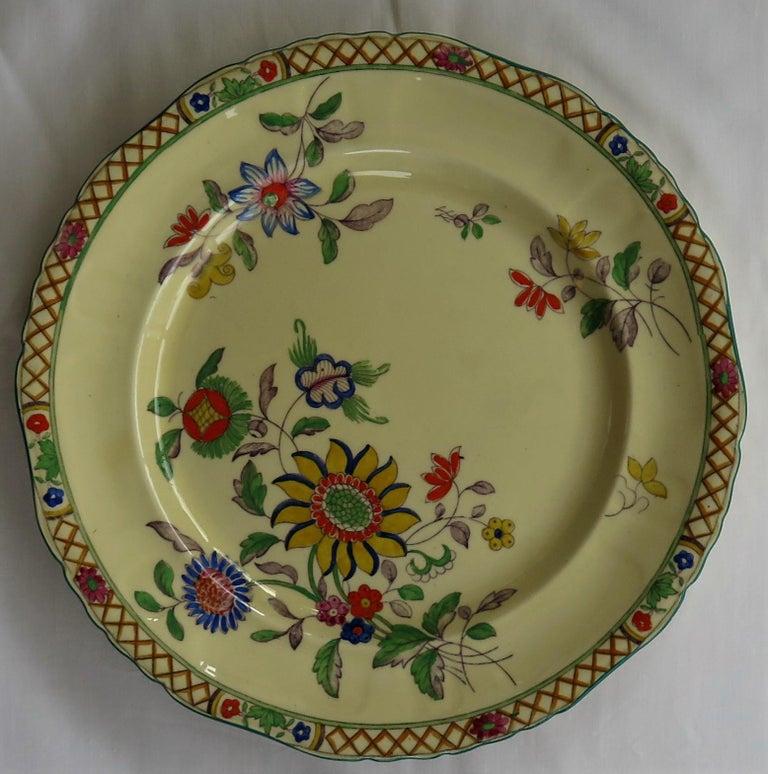 Six Mason's Ironstone Large Dinner Plates Art Nouveau Muscatel Pattern For Sale 3