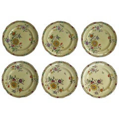 Six Mason's Ironstone Large Dinner Plates Art Nouveau Muscatel Pattern