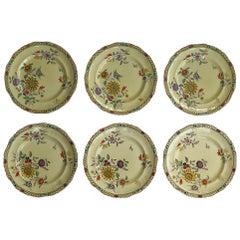 Six Mason's Ironstone Large Dinner Plates Art Nouveau Muscatel Pattern