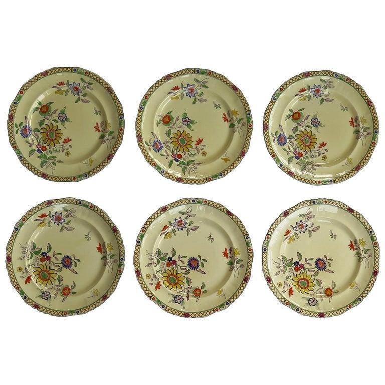 Six Mason's Ironstone Large Dinner Plates Art Nouveau Muscatel Pattern For Sale
