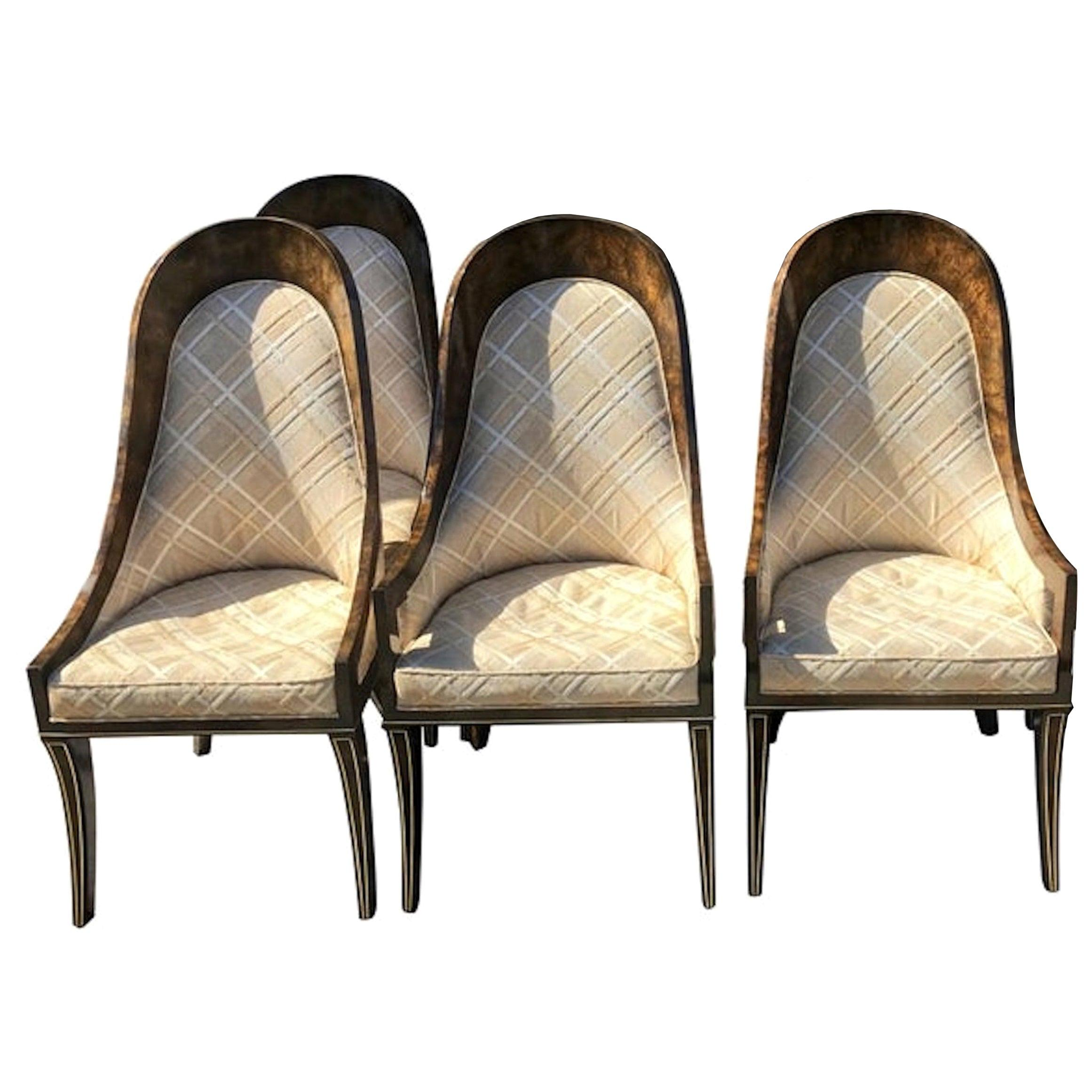 Four Mastercraft Amboyna And Brass Spoon Back Dining Room Chairs