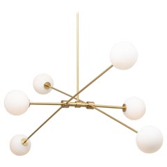 Six Matt Globe Articulating Rotational Satin Brass Pendant, Lighting Fixture