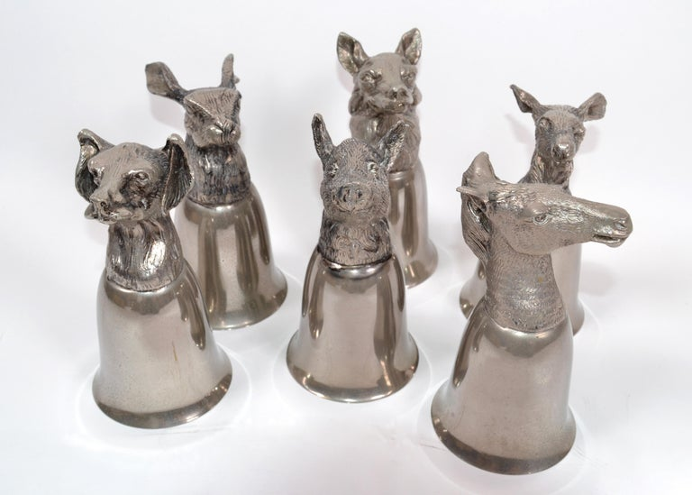 Mid-Century Modern Six Mauro Manetti Silver Plate Animal Heads Stirrup Goblets Cups, Made in Italy For Sale