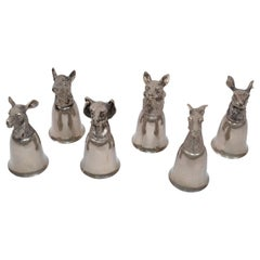 Six Mauro Manetti Silver Plate Animal Heads Stirrup Goblets Cups, Made in Italy