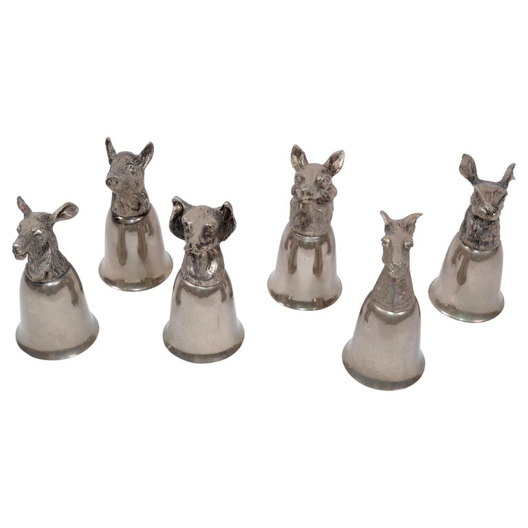 Six Mauro Manetti Silver Plate Animal Heads Stirrup Goblets Cups, Made in Italy For Sale