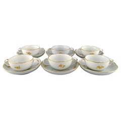 Six Meissen Bouillon Cups with Saucers in Porcelain with Flowers and Foliage