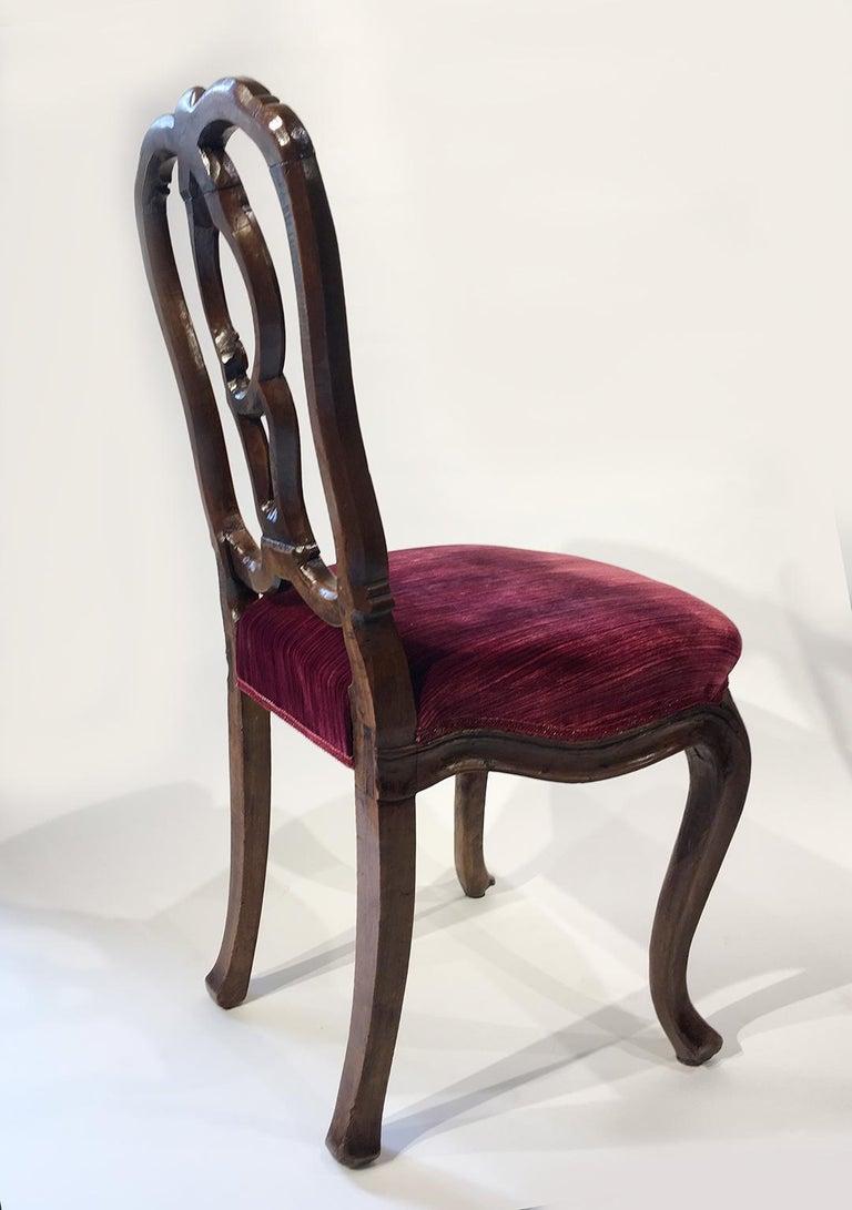 Rococo Six Mid-18th Century Italian Chairs, Venice, circa 1750 For Sale