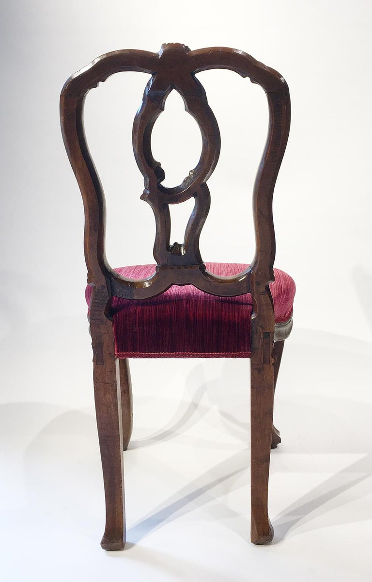 Carved Six Mid-18th Century Italian Chairs, Venice, circa 1750 For Sale