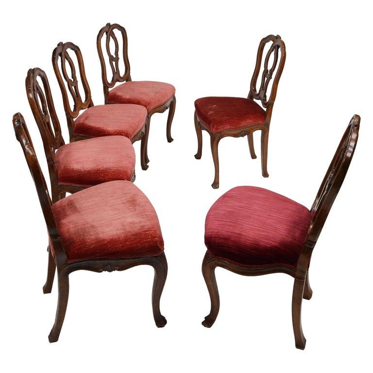 Six Mid-18th Century Italian Chairs, Venice, circa 1750 For Sale