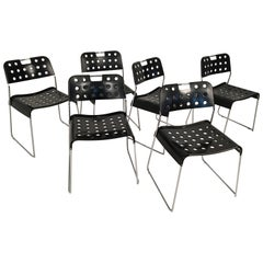 Six Midcentury Black R. Kinsman 'Omstak' Chairs for Bieffeplast Italy circa 1970