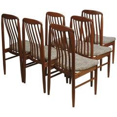 Six Midcentury Danish Modern Teak Benny Linden Dining Chairs