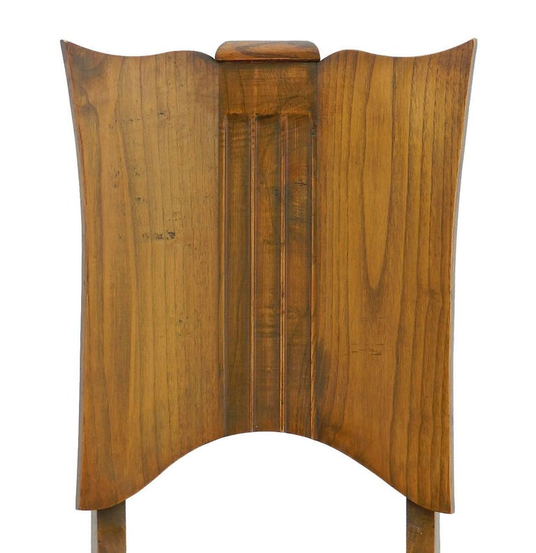 Six Art Deco dining chairs French midcentury, circa 1930-1940 Great shaped walnut backs With upholstered sprung seats covered in tan faux leather in good vintage condition Top covers can easily be changed to suit your interior In overall good