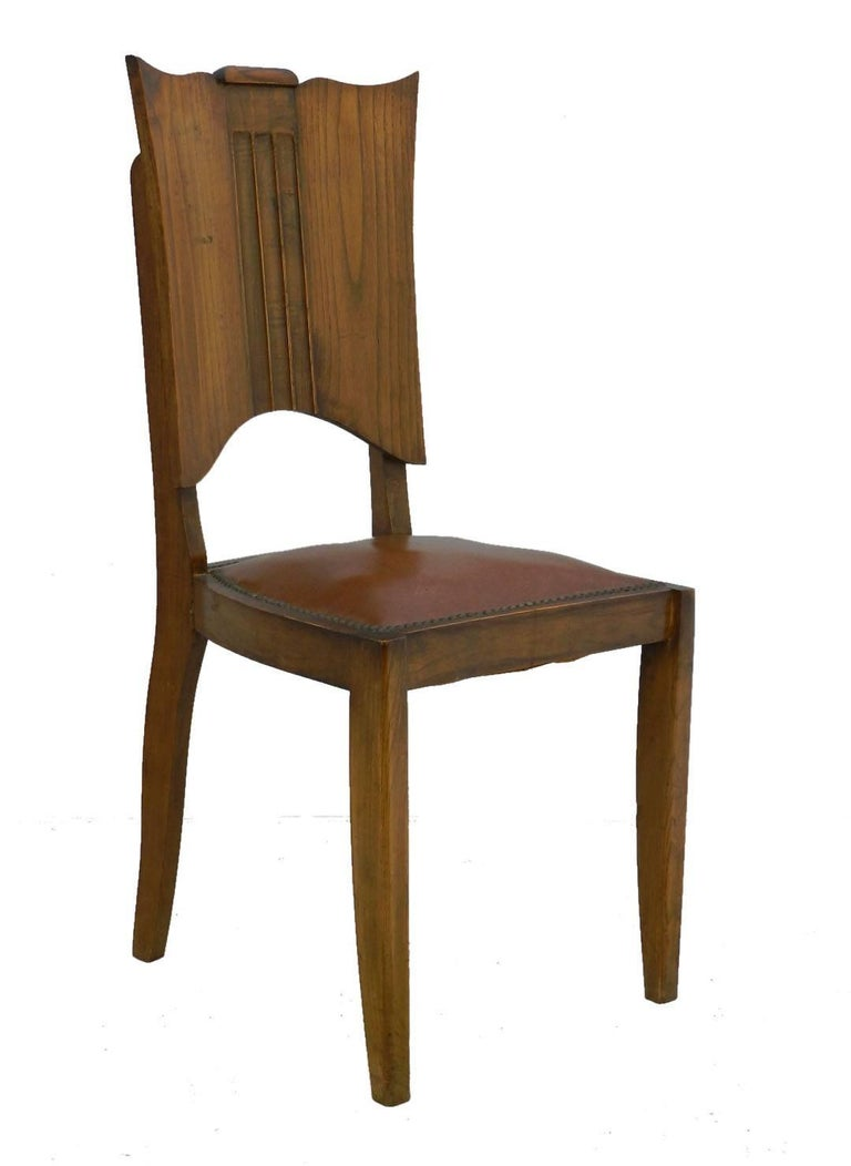 Six Art Deco Dining Chairs French Walnut Mid Century In Good Condition For Sale In , FR