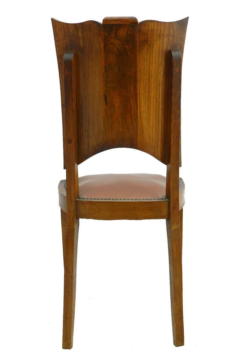 Upholstery Six Art Deco Dining Chairs French Walnut Mid Century For Sale