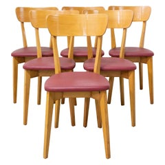 Six Mid Century Dining Chairs Red Skai and Beech, French