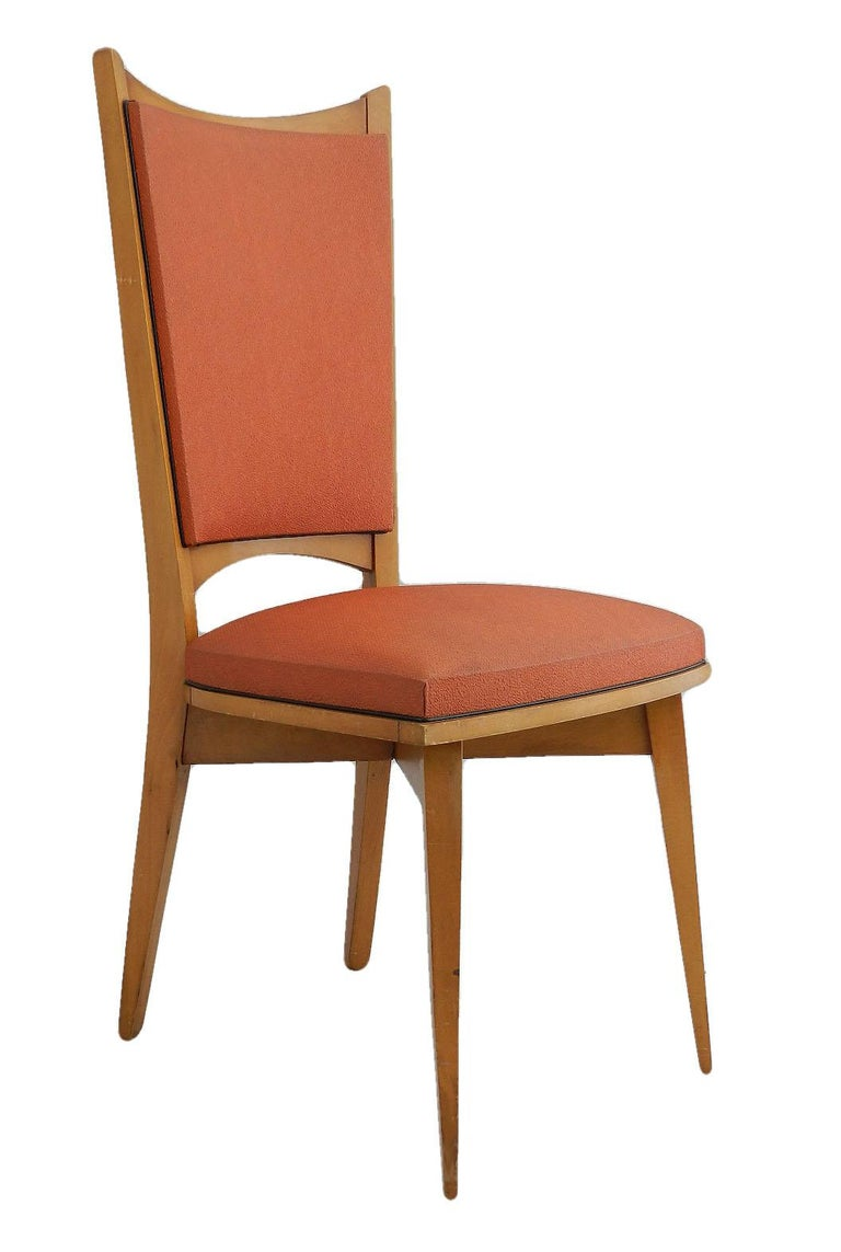 20th Century Six Midcentury French Dining Chairs Art Deco all Original in Good Condition For Sale