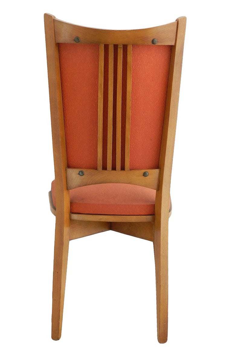 Six Midcentury French Dining Chairs Art Deco all Original in Good Condition For Sale 1
