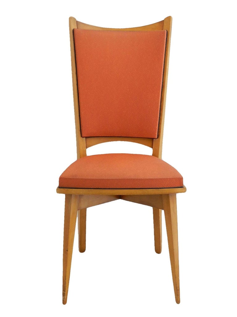 Six Midcentury French Dining Chairs Art Deco all Original in Good Condition For Sale 2