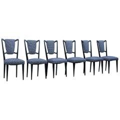 Six Mid-Century Italian Style Mahogany Chairs High Back Lined Borsani Style