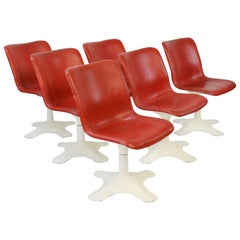 Six Midcentury Leather Dining Chairs by Yrjö Kukkapuro