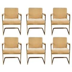 Six Midcentury Milo Baughman for Thayer Coggin Cantilever Brass Armchairs
