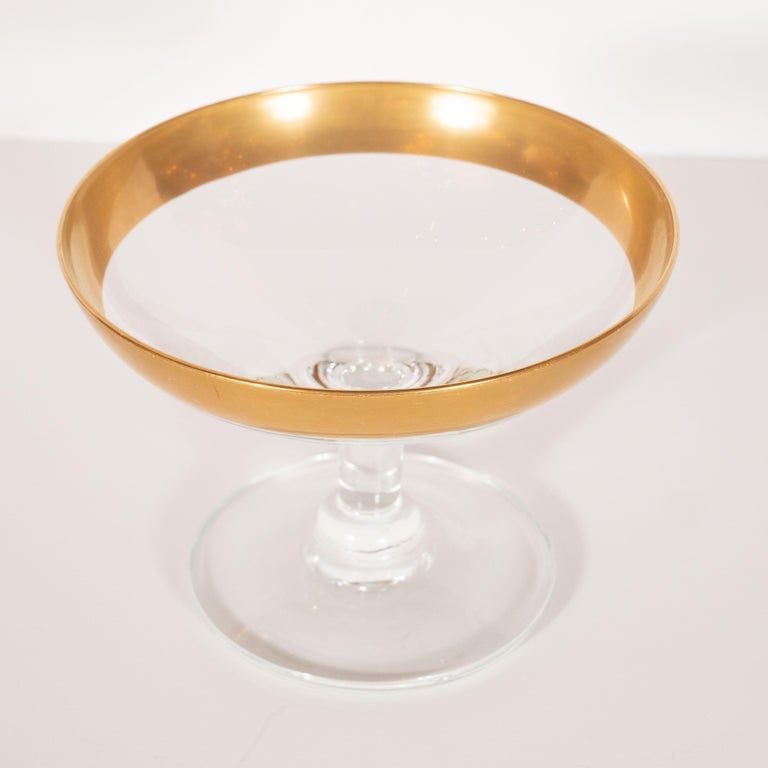 American Six Mid-Century Modern 24-Karat Gold Rimmed Champagne Coupes by Dorothy Thorpe For Sale