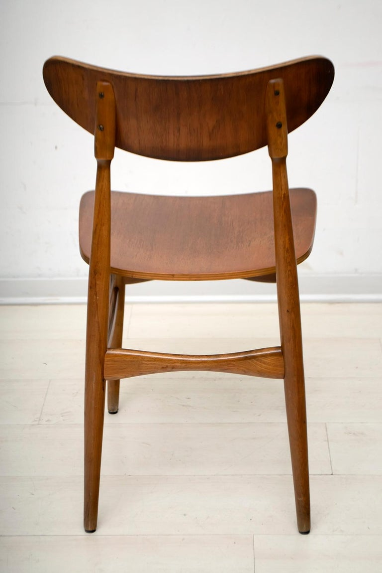 Mid-20th Century Six Mid-Century Modern Danish Curved Wood Chairs, 1960 For Sale
