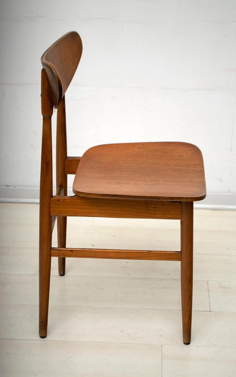 Oak Six Mid-Century Modern Danish Curved Wood Chairs, 1960 For Sale