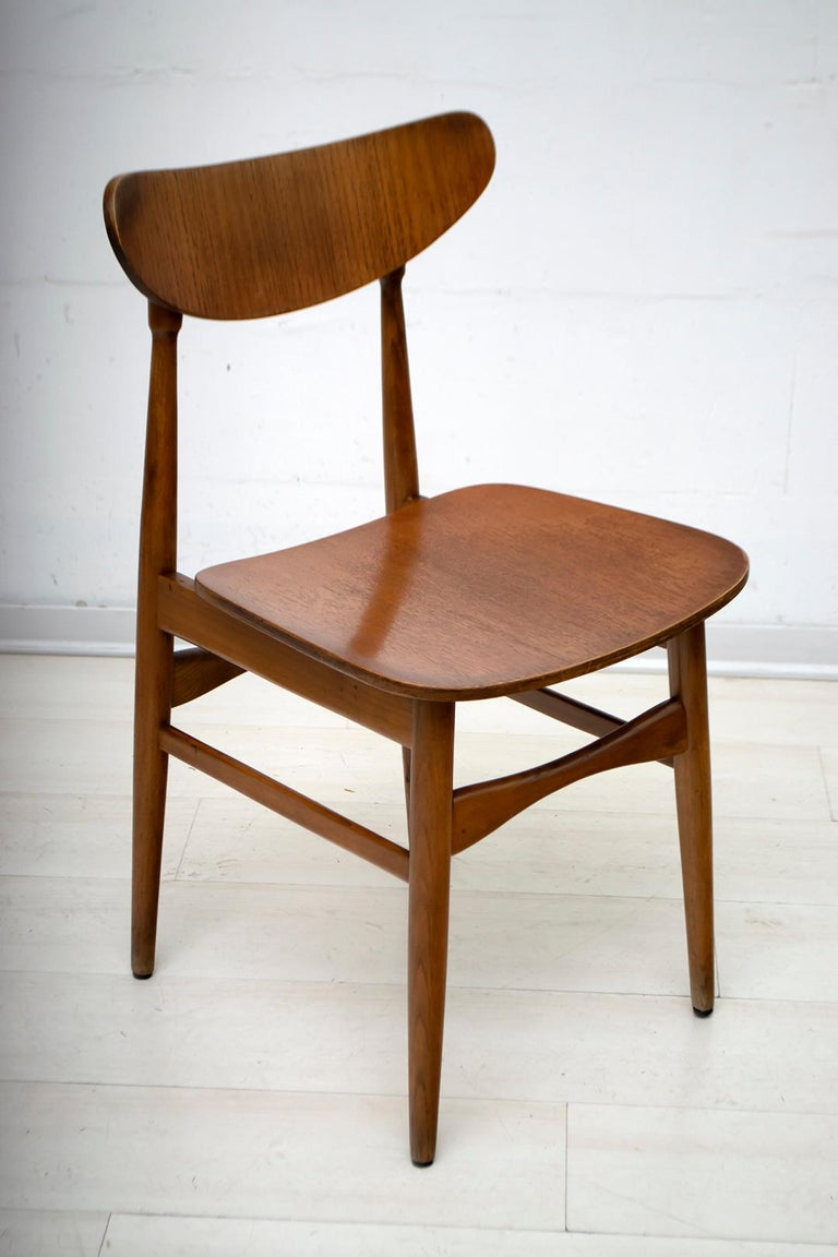 Six Mid-Century Modern Danish Curved Wood Chairs, 1960 For Sale 1